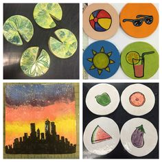Seaman High School, coaster sets and a reductive carved tile.