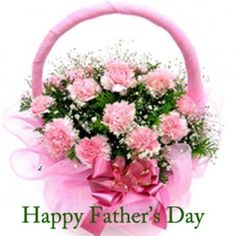 pink carnations in a basket arrangement.Send gift to bangladesh from usa . Father's Day Flowers, Bunch Of Flowers, Fresh Flowers, Beautiful Flowers, Send Flowers, Fathers Day Wishes, Happy Fathers Day, Pink Carnations, Pink Roses