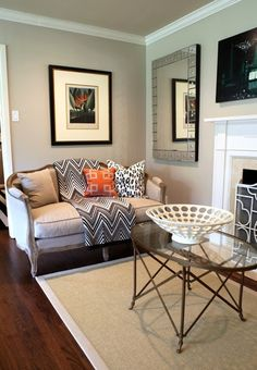 Wheat Bread by Behr A neutral-grey for the entryway if you did a green-grey in the living room?.