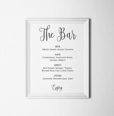 Bar Sign Bar Menu Sign Wedding Bar Sign Wedding Sign Wedding