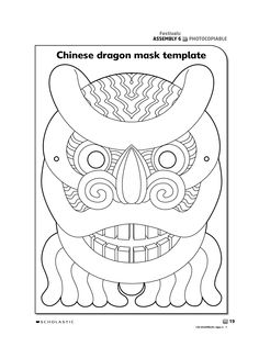 Printable Chinese New Year Masks Chinese Mask, Chinese Dragon, Chinese Alphabet Letters, Chinese Paper Cutting, New Year Art, Dragon Mask, Chinese New Year Crafts, New Year's Crafts, Art Worksheets