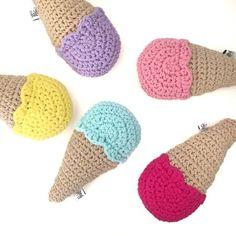 Crochet ice cream rattle softie