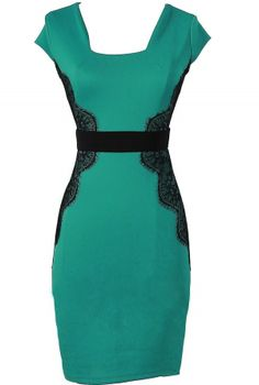 Touch of Lace Fitted Dress in Teal/Black might like it better in a dark purple, but still love the shape