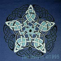 Pentacle Knot Celtic Tshirt Celtic Art by Jen Delyth