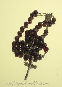 Antique French Sterling Silver & Garnet Faceted Glass Rosary Hallmarks Capped Beads Engraved Heart Centre www.fatiguedfrenchfinds.com
