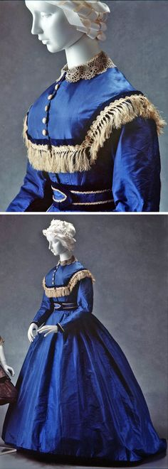 Gown, electric blue taffeta trimmed with velvet and braid, ca. 1865. Powerhouse Museum