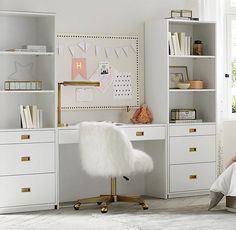 RH Baby & Child& Avalon Study Wall Set:The sleek lines of our collection capture the sophisticated restraint of modernism, while its polished cast-metal fittings take it in a new direction. Study Room Decor, Cute Room Decor, Teen Room Decor, Girl Desk, Girl Room, Teen Desk, Teen Bedroom Desk, Desk For Girls Room, Kids Bedroom Storage