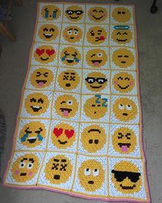 Emoji crochet afghan