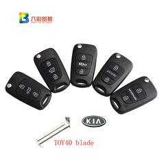 Araba Anahtarı Kabuk Değiştirme 3 Düğmeler Kia Rio Sportage K2 Picanto K5 KiA Flip Uzaktan Anahtar Kutu Boş Kapak ile TOY40 blade LOGO