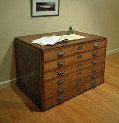Antique Vintage Industrial Hardwood Frame MAP Drawers Plan Press File Cabinet | eBay
