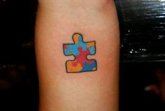 Autisum awareness puzzle piece tattoo...... Sherry Arniotis needs one of these for my sweet nephew Tommy!!