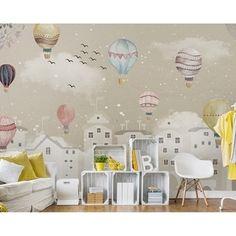 Kids Room Wallpaper, Wallpaper Roll, Children Wallpaper, Airplane Wallpaper, Wallpaper Wallpapers, Textures Murales, Kids Wall Murals, Cartoon Wall, Balloon Cartoon