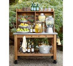 Wedding Registry Advice From Pottery Barn backyard food and drink station ideas from Pottery Barn Buffet Hutch, Food Buffet, Buffet Tables, Dining Tables, Tiered Stand, Garden Parties, Backyard Parties, Small Garden Party Ideas, Rustic Garden Party