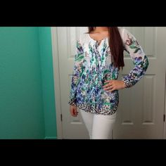 Floral & Cheetah Print Tunic Top Sheer and wonderful for the office or a lunch date. Was only used once so it's practically new. Mint condition.  :)  •No Trades• White House Black Market Tops Tunics