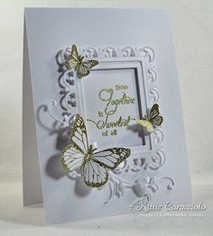 Wow lots of other in depth details f making cards here Butterfly Cards, Flower Cards, Butterfly Frame, Paper Flowers, Wedding Anniversary Cards, Wedding Cards, Happy Anniversary, Spellbinders Cards, Stampinup