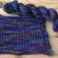 Knitted sample Lucidity colourway on Archie Aran 50%BFL 50% Masham wool hand dyed yarn