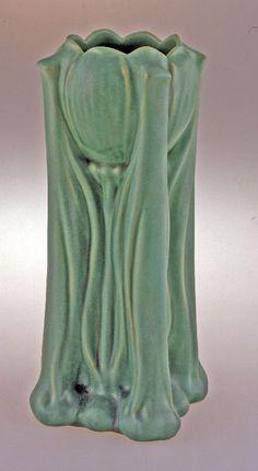 Teco Pottery Vase designed by Fernand Moreau, circa 1904-10