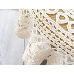 Vintage granny round Crochet Tablecloth, Off White hand crochet Side... ($42) ❤ liked on Polyvore featuring home, kitchen & dining, table linens, vintage, ivory table linens, ivory tablecloths, crochet table cloth, hand crocheted tablecloth and ivory table cloths