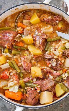 Stew: Traditionally, Mulligan stew is a clean-out-the-fridge kind of meal made with whatever you have on hand. Our recipe gives it its own spotlight with the right mix of meat and vegetables. Beef Soup Recipes, Vegetable Soup Recipes, Healthy Recipes, Healthy Food, Easy Recipes, Okra Recipes, Potato Recipes, Crockpot Recipes, Best Stew Recipe