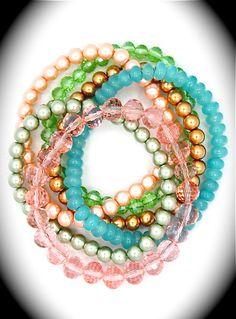 Pastel pearl & crystal stretch bracelets