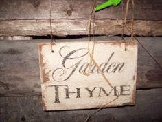 """PRIMITIVE""""GARDEN THYME"""" SIGN,ALTERED ART,MIXED MEDIA,COTTAGE DECOR,WATERING CAN #NaivePrimitive"""