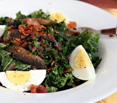 Recipe for kale salad with mushrooms and mustard vinaigrette, from The Perfect Pantry.
