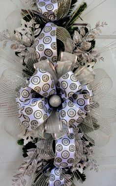 Winter Swag Wreath Holiday Centerpiece by SparkleWithStyle