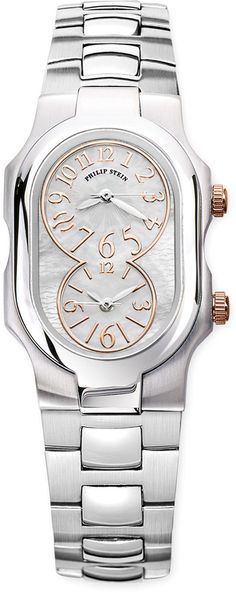 Philip Stein Teslar Small Signature Mother-of-Pearl Watch Head, Stainless/Rose on shopstyle.com