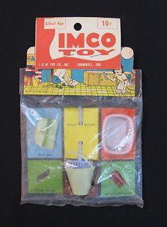 Vintage Play Set by IMCO Toy Company I M Broom Pail Bowl Brush