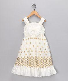 White & Gold Polka Dot Ruffle Dress - Infant & Toddler