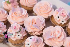 Pink flower and butterfly cupcakes from my girl baby shower. Cupcakes by Denisioso Cakery in Ridgecrest, ca. Girl, baby shower, cupcakes, pink, pretty.