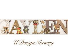 Woodland Themed Wooden Wall Letters - Nursery - Woodland - Baby Shower - Wooden Letters - Woodland Nursery