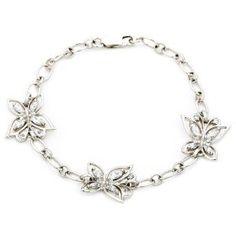 """Sterling Silver Cubic Zirconia Butterfly Bracelet, 7.25"""", $69.00"""