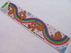 Rare Vintage 80's Cardesign Toots Rainbow Bears Transparent Sticker Strip