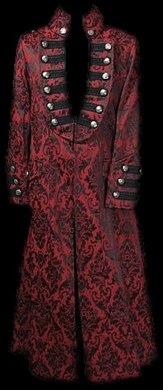 Crimson and ebony brocade gentleman's coat.