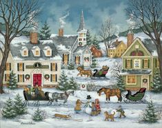 bonnie white folk art | Children gather to build snowmen and dream of Christmas morning