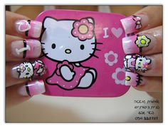 Coat your nails with pretty pink Hello Kitty characters and gradients and pose with your favorite Hello Kitty merchandise. Hello Kitty Haus, Sanrio Hello Kitty, Latest Nail Designs, Cool Nail Designs, Cat Nails, Pink Nails, Hello Kitty Merchandise, Hello Kitty Characters, Nail Designs