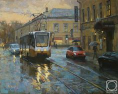 Painting «The Moscow tram at Pokrovsk gate Rain Art, Street Painting, Russian Art, Contemporary Art, Scenery, Art Gallery, Moscow, Urban, Watercolor