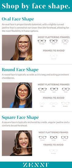 d2b49aed905 Find the most flattering frames for all face shapes! Glasses For Face Shape