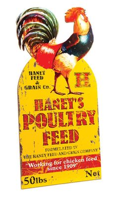 Large Poultry Feed Advertisement Die Cut Sign    Happy Bright Colors, vintage looking Feed Sign  Sign Dimensions: 23 1/4 x 11 1/2 x 1