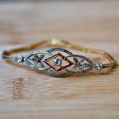 Vintage Art Nouveau Ruby Braclet   1920s Bracelet   Art Deco Ruby + Diamond Cuff