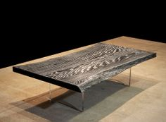 Ebonized Live Edge with Silver Impregnated Stain Coffee Table on Clear Acrylic Base (DESIGNLUSH Exclusive)