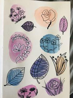 Watercolor Birthday Cards, Watercolor Bookmarks, Watercolor And Ink, Watercolour Painting, Flower Doodles, Hand Painting Art, Pen Art, Art Journal Inspiration, Doodle Art