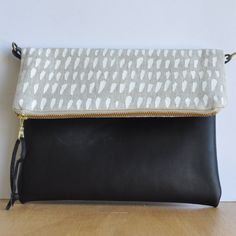 Eco Linen & Leather Fold-over Clutch - Brush stroke print - Handmade in Australia - Sling Bag - Cross-body purse by SmallWorldDreams on Etsy