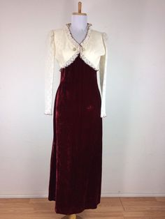 Vintage 1960s Dress Scarlet Red Bib Velvet Lace Eyelets Maxi Victorian Style S   #Unbranded #VictorianStyle