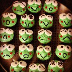 Celebrating Keroppi's birthday with Keroppi cupcakes! I LOVED Keroppi growing up! He's so cute!!!