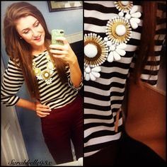 statement necklace with stripes