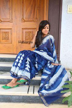 Hathkargha - Exploration of traditional creativity Chanderi Silk Saree, Cotton Saree, Silk Sarees, Indian Dresses, Indian Outfits, Indian Clothes, Sari Dress, Saree Blouse, Indian Attire