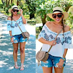 Embroidered peasant blouse & boat hat!