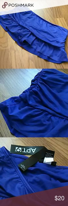 NWT ruched swim skirt skirted bikini Blue swim skirt, brand new from Kohls.  Ruching on sides, ruffle at hem, and attached panties complete with hygienic liner.  Adorable! Apt. 9 Swim
